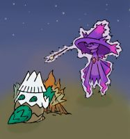 Mismagius + Snover Campfire by sunnyfish
