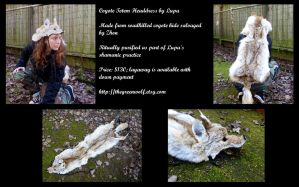 Roadkilled Coyote Totem Headdress by lupagreenwolf