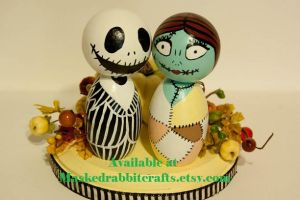 Jack and Sally Cake Topper by maskedrabbitcrafts