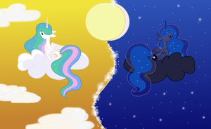Princess Celestia and Luna by SugarMoonPonyArtist