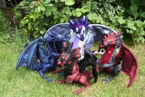 Poseable textile scuplture art doll dragon pattern by DragonForge311088