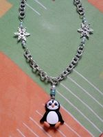 Necklace with penguin, snowflakes and pearls fimo by bimbalove81