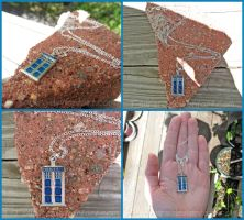 Doctor Who - Tardis Inspired Police Box - Necklace by Tsurera