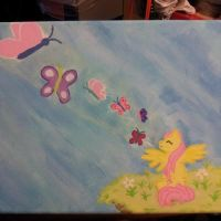 8X10 Fluttershy Pony Painting by LilWolfStudios