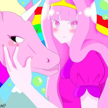 Princess BubbleGum and Rainicorn by OriginalFinn