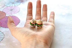 Crochet Amigurumi Deluxe Cheeseburger Earrings (2) by SkySinger92