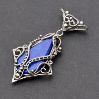 Morwen - Fantasy Wire-wrapped Lapis Lazuli Pendant by Eire-handmade