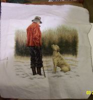 Man and his dog cross-stitch by StarfallRedcat