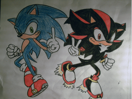 sonic and shadow the hedgehog by shadowhatesomochao