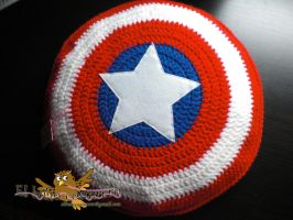 Captain america shield, handmade pillow by elbuhocosturero