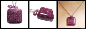 Purple glittery resin pendant by caithness-shop