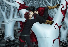 Burning reds (Reno and Vincent for sunstroke-art) by KorNaXon