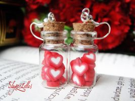 Earrings - Bottles with hearts by Benia1991