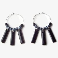 Black and Blue Hoops by BastsBoutique