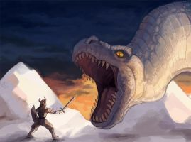 Slaying the Snow Dinosaur by Garmmon