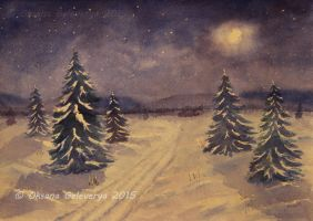 Winter In The Night -watercolor landscape by Oksana007
