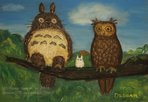 Totoro meets his new neighbor the Long Eared Owl by Oksana007