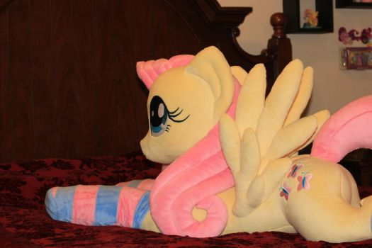 Life-size 45-inch Fluttershy Plushie (Front view) by FlutterbatIsMagic