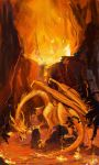 Fire Dragons And Lava Ninjas Fighting In A Volcano by ysucae