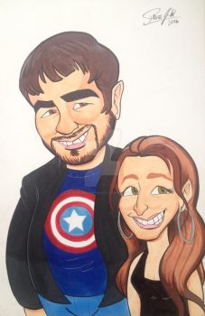 Liz and Eric Caricature by DaveJWoodwardArt