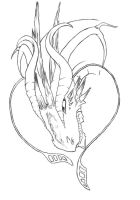Water Dragon LineArt by Conwant