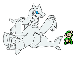 Reshiram and 8Bit luigi by LukeTheeMewtwo