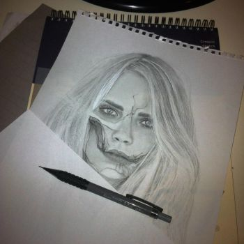 Cara Delevingne undead (progress) by Aeriz85