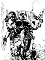 The Punisher and Deadpool Inks by SWAVE18