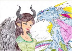 Maleficent and Haken Beast by Lady-Scorpion