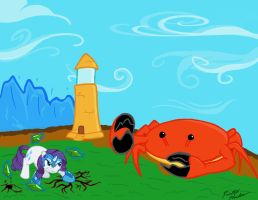 Rarity Vs Giant Crab by PaintedShadow451