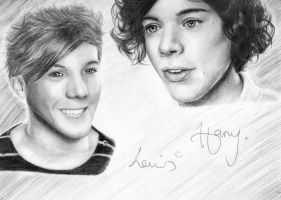 Harry Styles + Louis Tomlinson by 1drawingGirl