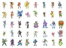 Pokemon Gijinka Sprites by pixie-rings
