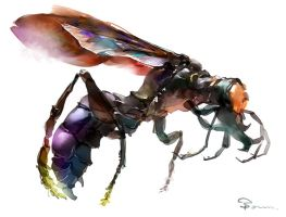 Large wasp by Bowkl