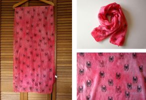 Spiderman Red Silk Scarf by lazylinepainterjane