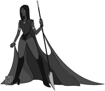 Full-Body Lineart Commission- Black Diamond by XombieJunky