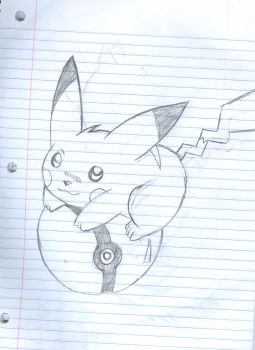 Pikachu on a pokeball by 210teenlibrary
