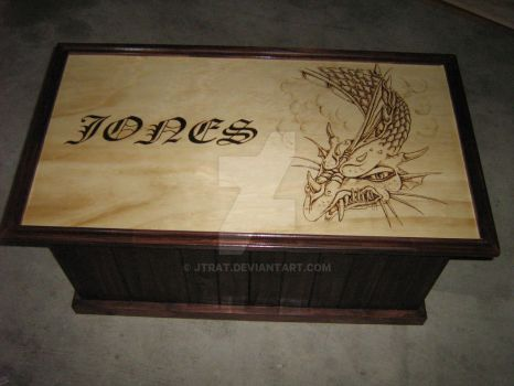 Dragon Pyrography hand made wooden chest by jtrat
