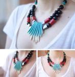 Necklace in coral, Obsidian, Jet (lignite)... by rmalo5aapi