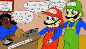 The Mario Bros go to Big Momma K for Legal Advice by keymakernyc