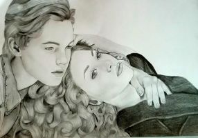 Titanic Jack and Rose portrait by Thessa-drawings