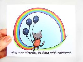 Nyan Cat Birthday Card by sobeyondthis