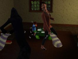 Pillow fighting with Death by SimLuvaGurl