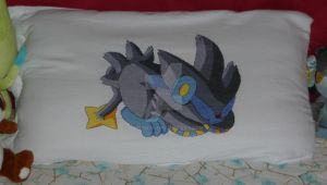 Luxray Pillow -cross stitch- by Gabudow