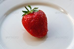 Strawberry on plate by version-four