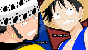 Trafalgar Law x Luffy by Hand-Banana