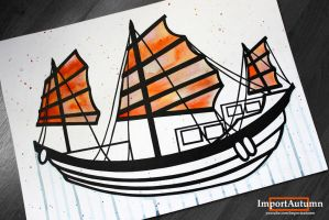 InkTober Day 23 - Junk Boat Artwork! by ImportAutumn