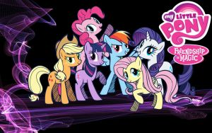 {Wallpaper} ~ Cartoony Mane Six (Version 1) by ShegoxDrakken