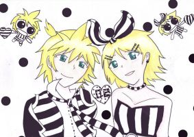 Rin n Len and dots n stripes by BloodStainedMiku