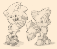 Sonic And Tails Concept Sketch  by Air-City