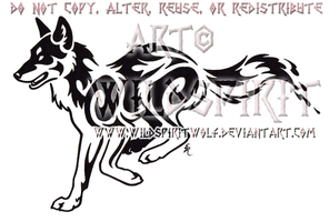 Running Red Wolf Tribal Design by WildSpiritWolf